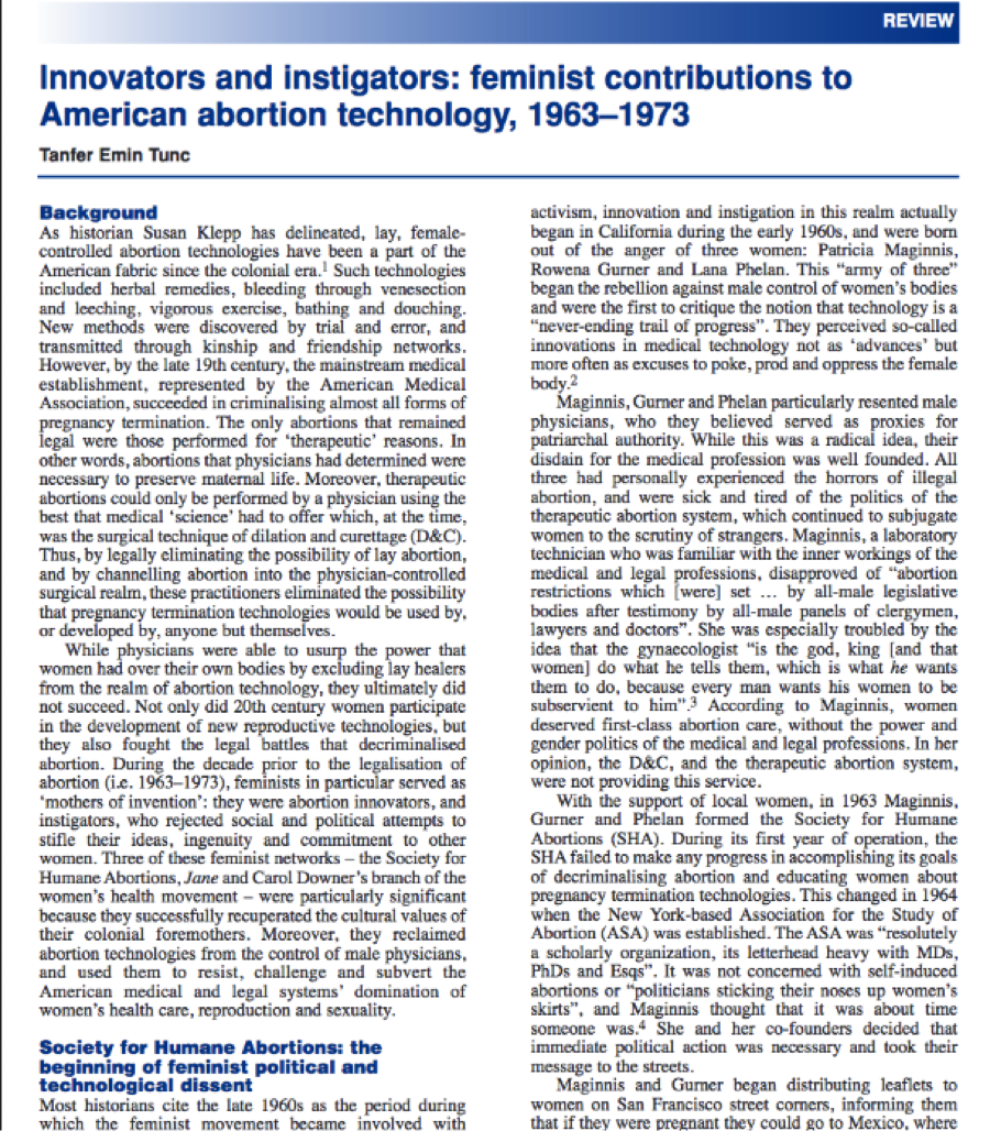 Innovators and instigators: feminist contributions to American abortion technology, 1963–1973 Image